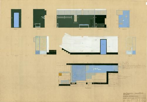 Interior design of the hall. Collection Het Nieuwe Instituut. BROX 93t1