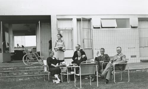 A variety of garden furniture in the garden. Collection Het Nieuwe Instituut. Loan BIHS