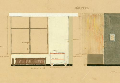 Interior design of the dining room and living room (detail), with the tea trolley sketched in. Collectieon Het Nieuwe Instituut. BROX 93-t1