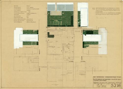 Brinkman en Van der Vlugt. Interior design of the girls' bathroom. Collection Het Nieuwe Instituut. BROX 93t21