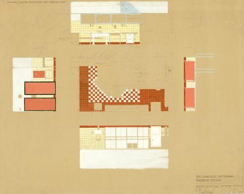 Brinkman en Van der Vlugt. Interior design of the kitchen. Collection Het Nieuwe Instituut. BROX 93t21