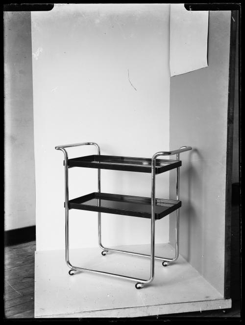 Tea trolley. Product photography for Gispen's catalogue. Collection Het Nieuwe Instituut. Glass plate negatives.
