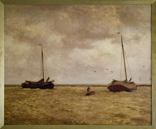 W.B. Tholen. Seascape with two botters
